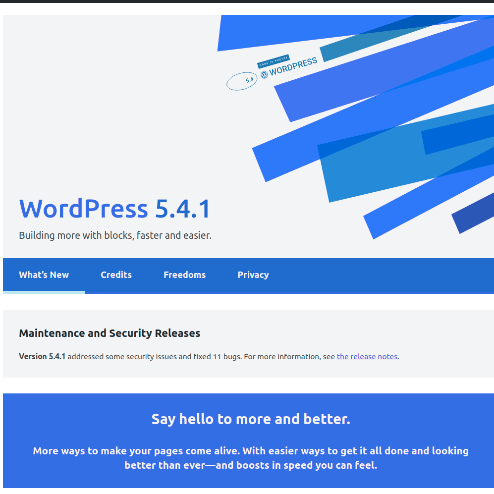 WordPress 5.4.1 released
